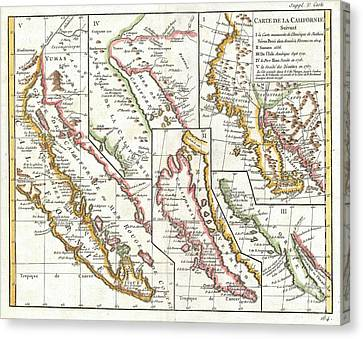 1772 Vaugondy  Diderot Map Of California In Five States California As Island Canvas Print