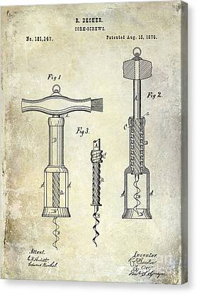 1876 Corkscrew Patent Drawing Canvas Print by Jon Neidert