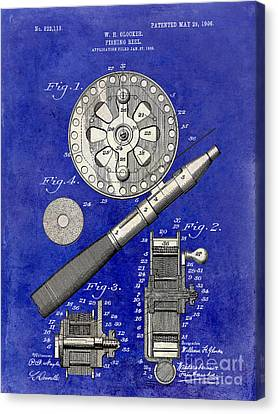 1906 Fishing Reel Patent Drawing Blue 2 Tone Canvas Print by Jon Neidert