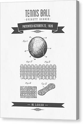 1907 Tennis Racket Patent Drawing - Retro Gray Canvas Print by Aged Pixel