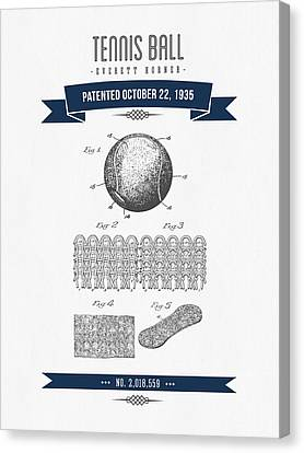1907 Tennis Racket Patent Drawing - Retro Navy Blue Canvas Print by Aged Pixel