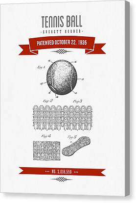 1907 Tennis Racket Patent Drawing - Retro Red Canvas Print by Aged Pixel