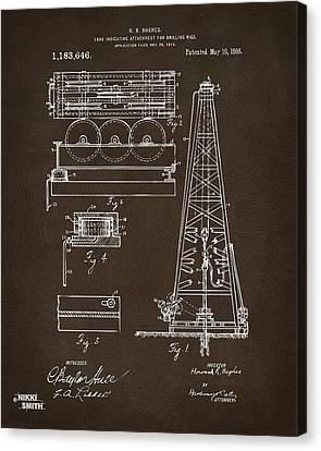 1916 Oil Drilling Rig Patent Artwork - Blueprint Canvas Print