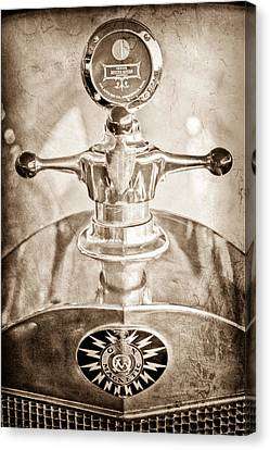Motometer Canvas Print - 1917 Owen Magnetic M-25 Hood Ornament - Moto Meter by Jill Reger