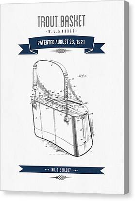 1921 Trout Basket Patent Drawing - Navy Blue Canvas Print by Aged Pixel