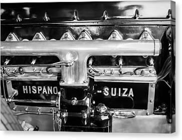 Hispano Suiza Canvas Print - 1924 Hispano-suiza Engine Emblem -0120c by Jill Reger