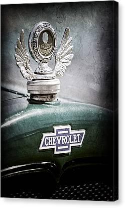 1928 Chevrolet Stake Bed Pickup Hood Ornament - Emblem Canvas Print by Jill Reger