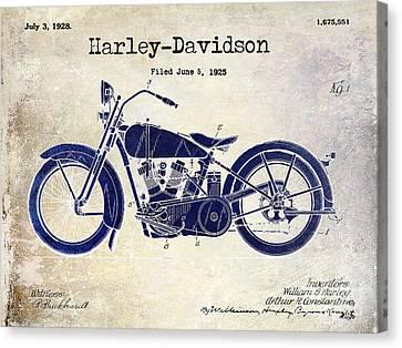 1928 Harley Davidson Patent Drawing 2 Tone Blue Canvas Print by Jon Neidert