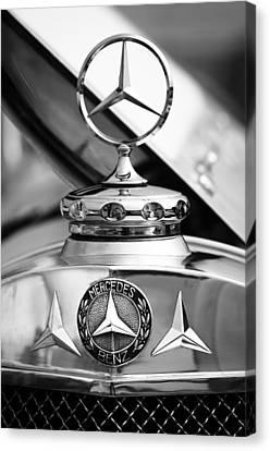 Barker Canvas Print - 1929 Mercedes-benz Ss Barker Roadster Hood Ornament - Emblem by Jill Reger