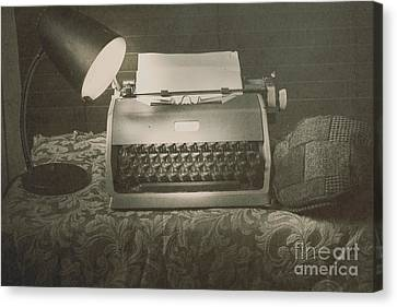 1930s Press Release On Antique Reporters Desk Canvas Print by Jorgo Photography - Wall Art Gallery