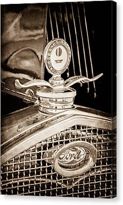 Motometer Canvas Print - 1931 Model A Ford Deluxe Roadster Hood Ornament by Jill Reger