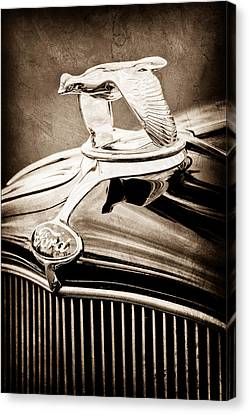 Ford V8 Canvas Print - 1932 Ford V8 Hood Ornament - Emblem by Jill Reger
