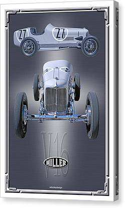 Canvas Print featuring the photograph 1932 Miller V16 by Ed Dooley