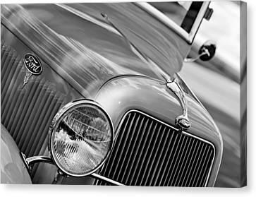 Ford V8 Canvas Print - 1934 Ford V8 Grille - Emblem by Jill Reger