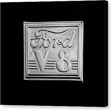 1940 Ford Coupe V8 Emblem Canvas Print by Jill Reger
