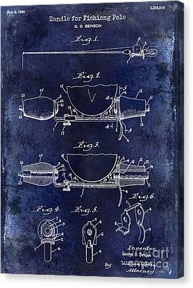 1940 Handle For Fishing Pole Patent Drawing Blue Canvas Print by Jon Neidert