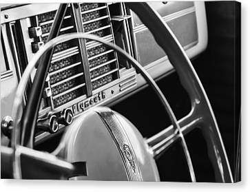 1940 Plymouth Deluxe Woody Wagon Steering Wheel Canvas Print by Jill Reger