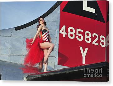 1940s Style Pin-up Girl Standing Canvas Print by Christian Kieffer