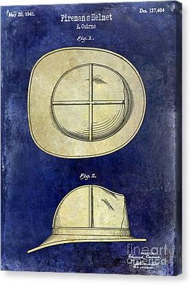 1941 Firemans Helmet Patent Drawing 2 Tone  Canvas Print by Jon Neidert