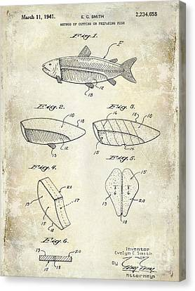 1941 Fish Cleaning Patent Patent Drawing Blue Canvas Print by Jon Neidert