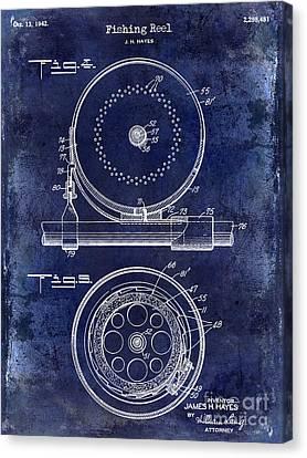 1942 Fishing Reel Patent Drawing Blue Canvas Print by Jon Neidert