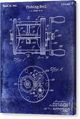 1943 Fishing Reel Patent Drawing Blue Canvas Print