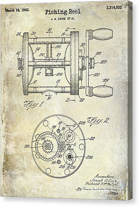 1943 Fishing Reel Patent Drawing Canvas Print