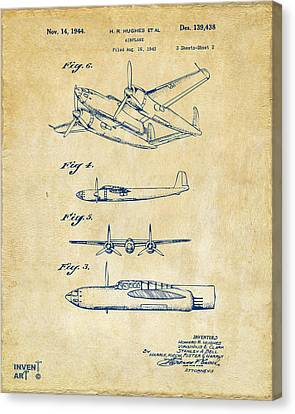 Vintage Air Planes Canvas Print - 1944 Howard Hughes Airplane Patent Artwork 2 Red by Nikki Marie Smith