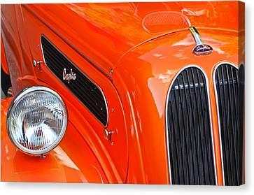 1948 Anglia 2-door Sedan Grille Emblem Canvas Print by Jill Reger