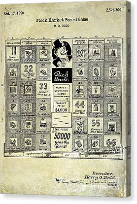 1950 Stock Market Game Patent Drawing Blue Canvas Print by Jon Neidert