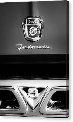 1950's Ford F-100 Pickup Truck Grille Emblems Canvas Print by Jill Reger