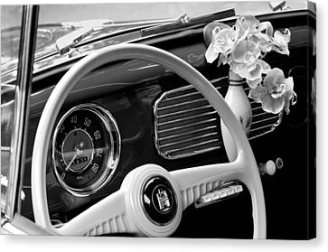Volkswagon Canvas Print - 1952 Volkswagen Vw Bug Steering Wheel by Jill Reger