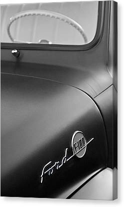 1953 Ford F-100 Pickup Truck Steering Wheel And Emblem Canvas Print by Jill Reger