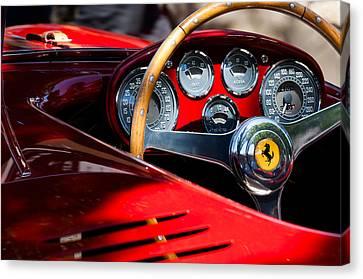 1954 Canvas Print - 1954 Ferrari 500 Mondial Spyder Steering Wheel Emblem by Jill Reger