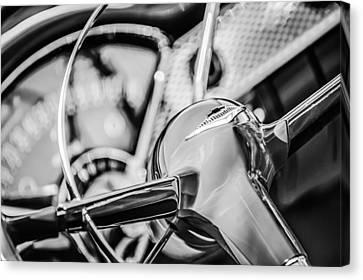 1955 Chevrolet Bel Air Convertible Steering Wheel Emblem -0976bw Canvas Print by Jill Reger