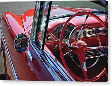 1955 Chevrolet Belair Steering Wheel Canvas Print by Jill Reger