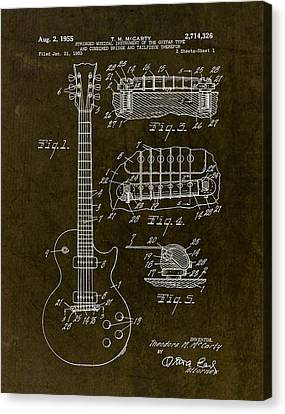 1955 Gibson Les Paul Patent Drawing Canvas Print by Gary Bodnar