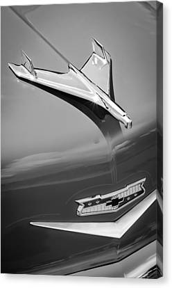Old Car Door Canvas Print - 1956 Chevrolet 210 2-door Handyman Wagon Hood Ornament - Emblem by Jill Reger