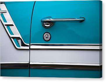 Old Car Door Canvas Print - 1956 Chevrolet Bel Air by Carol Leigh