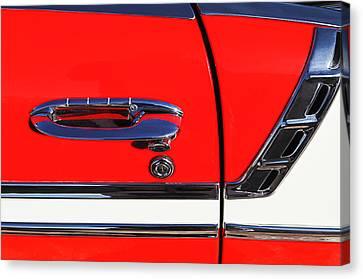 1956 Chevrolet Belair Convertible Custom V8 Door Handle Canvas Print by Jill Reger