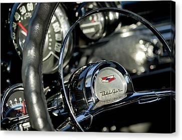 1957 Chevrolet Belair Steering Wheel Canvas Print by Jill Reger