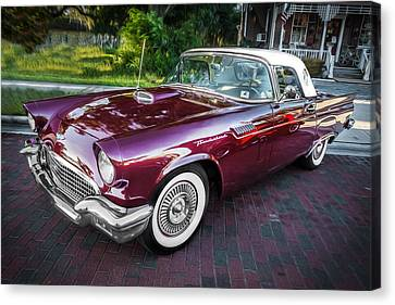 1957 Ford Thunderbird Convertible Painted    Canvas Print by Rich Franco