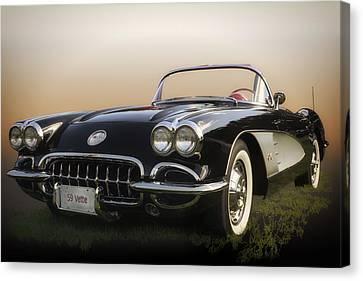 1959 Corvette Canvas Print by Larry Helms