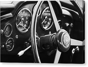 1960 Aston Martin Db4 Gt Coupe' Steering Wheel Emblem Canvas Print by Jill Reger