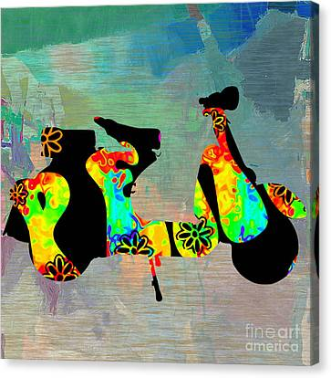 1960s Peace Scooter Canvas Print