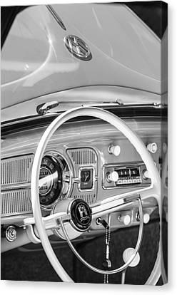 1962 Volkswagen Vw Beetle Cabriolet Steering Wheel Canvas Print by Jill Reger