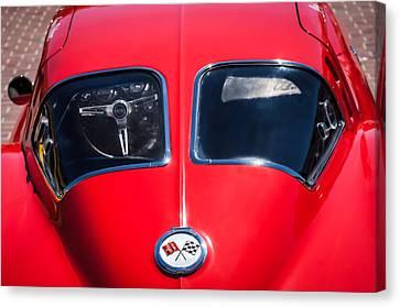 White Chevy Canvas Print - 1963 Chevrolet Corvette Split Window -1073c by Jill Reger