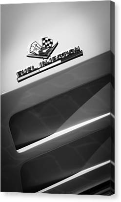 1963 Chevrolet Corvette Sting Ray Split-window Race Car Fuel Injection Emblem Canvas Print by Jill Reger