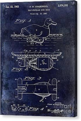 Hunting Bird Canvas Print - 1963 Duck Decoy Patent Drawing by Jon Neidert