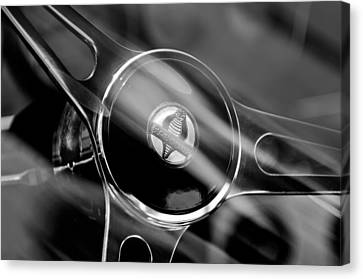 1965 Ford Mustang Cobra Emblem Steering Wheel Canvas Print by Jill Reger